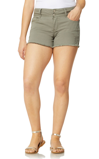 Luscious Curvy Colored Frayed Shorts In Mojito