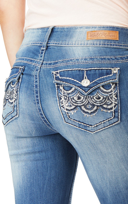 Luscious Curvy Bling Bootcut Jeans In Hello Dolly