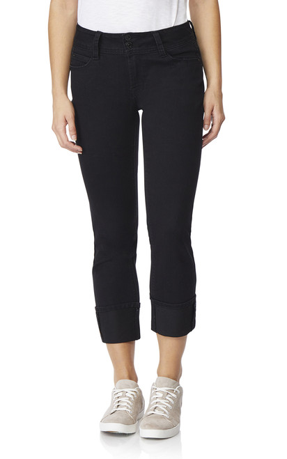 Luscious Curvy Deep Cuff Ankle Jeans In Black Rinse