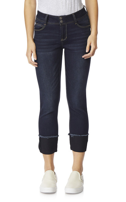 Luscious Curvy Deep Cuff Ankle Jeans In Kaylee
