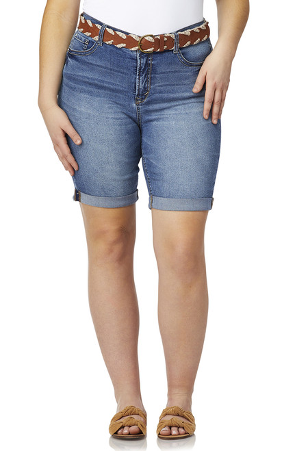 33a380fba71 Plus Size Belted Legendary Bermuda Shorts In Brixton - WallFlower Jeans