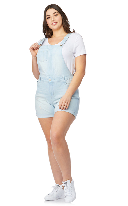 Plus Size Denim Shortalls In Belle