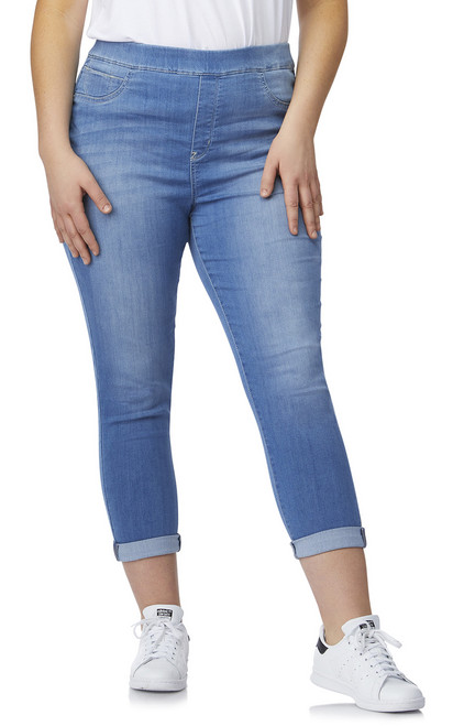 Plus Size Elastic Waistband Pull On Skinny Jeans In Amal