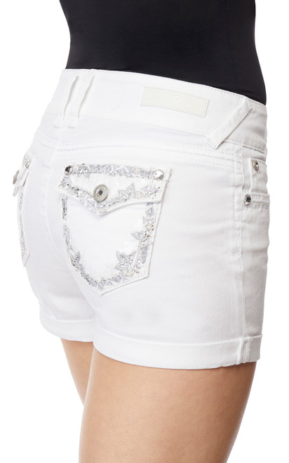Luscious Curvy Bling Shorts In Bright White