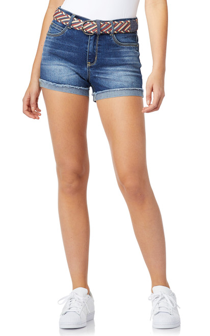 Legendary Belted High-Rise Shorts In Anebelle