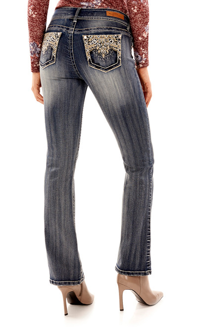 Luscious Curvy Embellished Bootcut Jeans In Davina