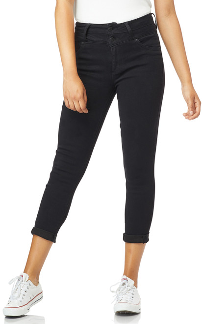 InstaSoft™ Sassy High Waisted Skinny Crop Jeans In Noir
