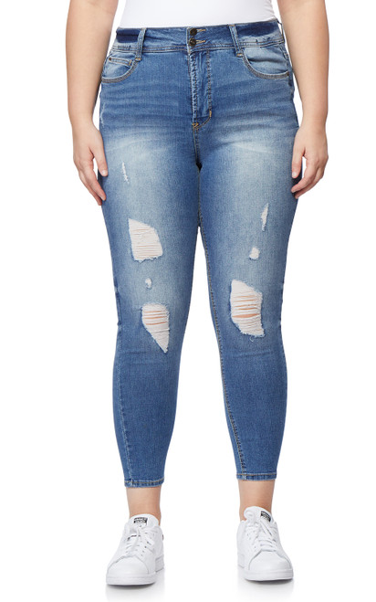 Plus & Regular Destructed Luscious Curvy Ankle Skinny Jeans In Festival