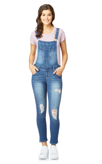Plus Size InstaStretch™ Denim Overalls In Milan