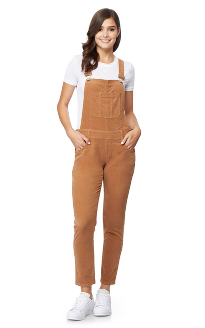 Plus and Regular Stretch Corduroy Overalls In Latte