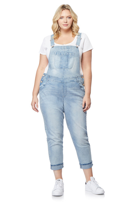 Plus Size InstaStretch Denim Overalls In Freya