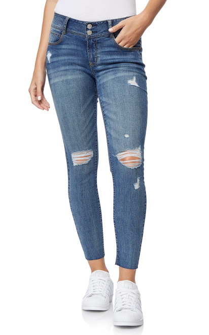 Destructed Luscious Curvy Ankle Skinny Jeans In Galaxy