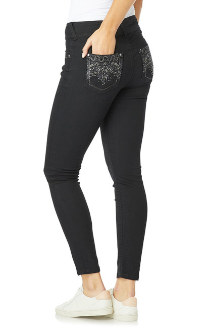 Luscious Curvy Bling Skinny Jeans In Black Rinse