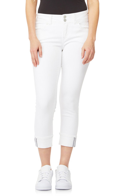 InstaStretch™ Luscious Curvy Cuffed Crop Jeans In Bright White