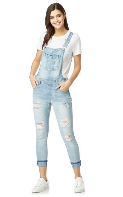 Juniors and Plus-Size InstaStretch™ Destructed Denim Overalls In Wynnie