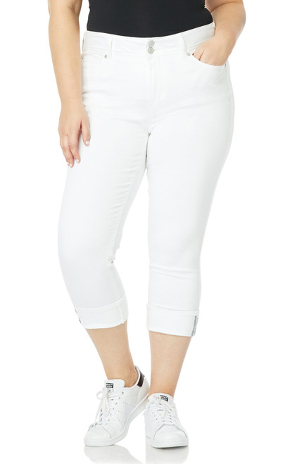 Plus Size InstaStretch™  Luscious Curvy Cuffed Crop Jeans In Bright White