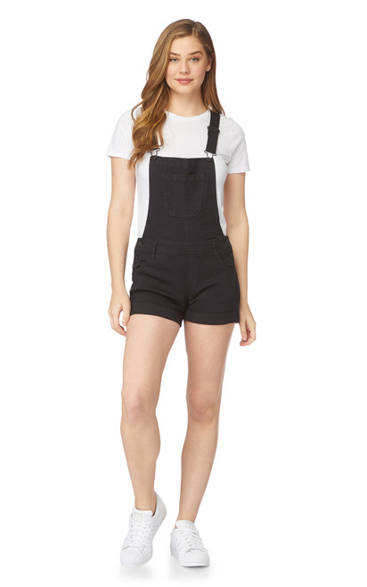 InstaStretch™  Denim Shortalls In Black