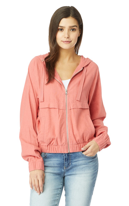 InstaChill™ Linen Hooded Windbreaker Jacket In Faded Rose