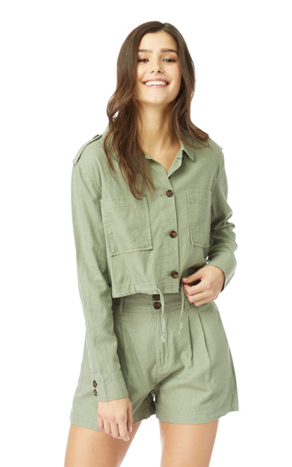 InstaChill™ Utility Linen Jacket In Sage