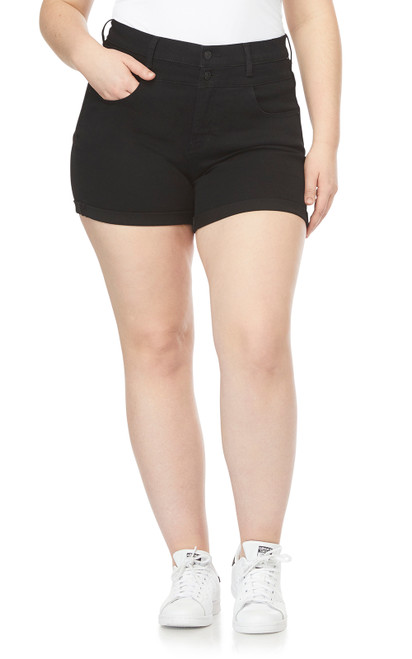 Plus Size InstaSoft™ High Rise Sassy Shorts In Black Rinse