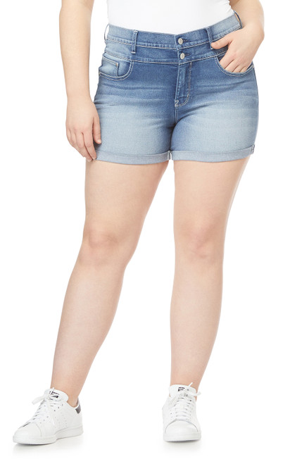 Plus Size InstaSoft™ High Rise Sassy Shorts In Mel