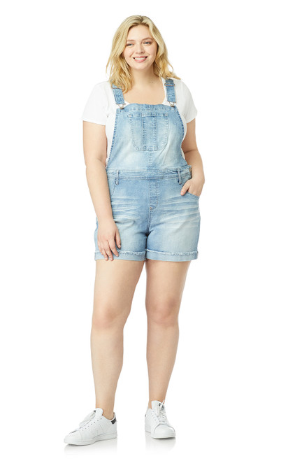 Plus-Size InstaStretch™ Denim Shortalls In Charlotte