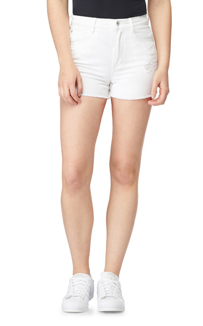 Destructed InstaVintage™ Mom Shorts In White