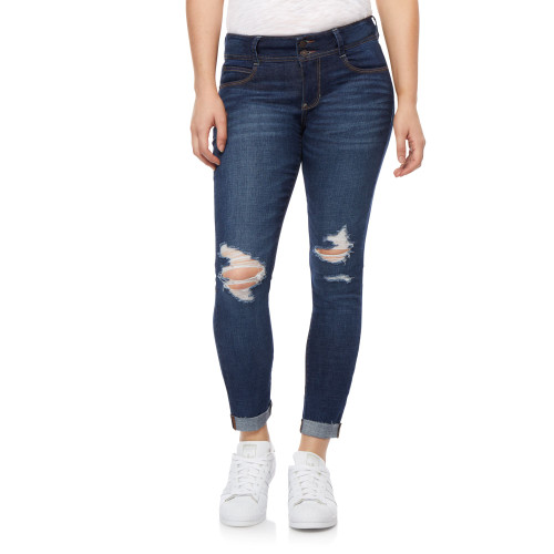 Luscious Curvy Raw Hem Ankle Jeans In Clarke Wash