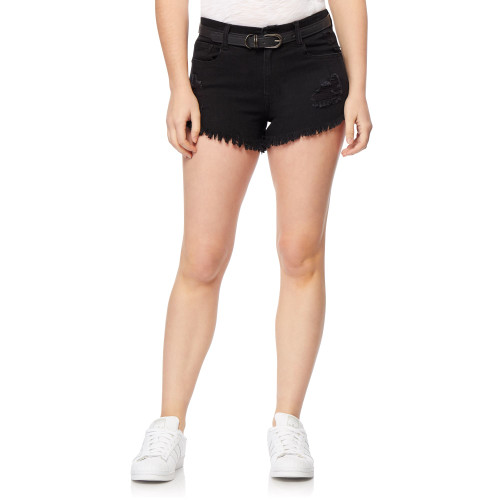 Fearless High Rise Belted Shorts In Carbon