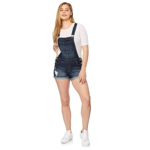 InstaVintage™ Loose Fit Denim Shortalls In Linden