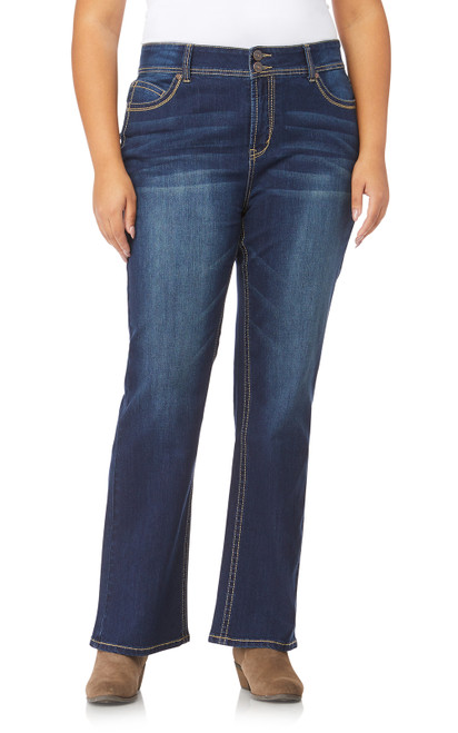"Plus Luscious Curvy Basic Bootcut Jeans (30-32-34"") In Scarlett"
