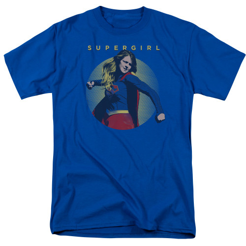 Supergirl Punching on Royal Blue