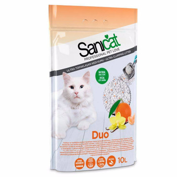 The first clumping cat litter with two scents.   Get the longest-lasting cat litter thanks to a combination of clumping litter with the fragrant scent of vanilla and mandarin orange. Its thicker granules also prevent cats from dragging the litter outside the litter box.    Composition: Thick Bentonite with vanilla and mandarin orange scent.  Format: Available in 10 L.