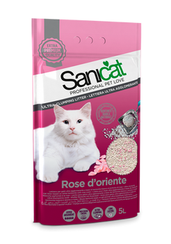 Maximum whiteness with the best clumping.   Ultra white bentonite provides excellent clumping properties that make Rose d'Oriente one of the most efficient cat litters on the market. Its pleasant scent of roses also provides effective odour control.    Composition: ultra white Bentonite with scent of roses.  Format: available in 5L.