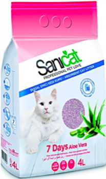 No odours or maintenance for a week.   7 days Aloe Vera is the perfect litter for busy pet owners who have little spare time. Because of its high absorption capacity and air-freshening effect, just a single-dose package ensures a whole week of clean litter.   Thanks to its texture in fine strips, it is soft on your cat's paws, good even for kittens. Its original pink colour will captivate your pet.    Composition: Special Attapulgite with Aloe vera scent.  Format: Available in 4L package.