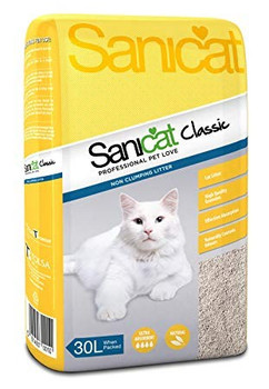 The cat litter for pet owners looking for the best value for their money.   Sanicat Classic is the perfect litter for pet owners and cats that like simple and natural products, without perfumes or additives. Its effective absorption helps cats feel like they are in their natural environment.   Its 30-litre package is also perfect for breeders and pet owners looking to save.    Composition: sepiolite.  Format: available 30L.