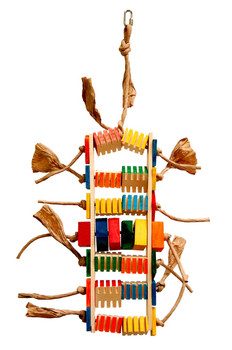 Groovy wood blocks. Birds love to chew on the groovy part. Made of soft wood. Hide treats into grooved blocks for your bird to find. Medium parrot foraging toy