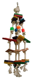 Made of 100% cotton rope, with many various pieces of wood, acrylic pieces & vegetable leather parts. Medium parrot destroy toy