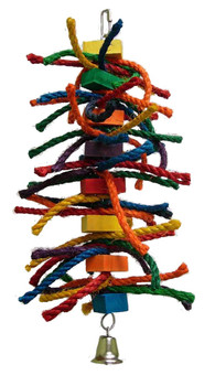 Large number of sisal ropes, with several wood blocks in between, and a bell at the bottom. With new toys always keep a eye on your bird. This toy is excellent for Parrots that are FEATHER PLUCKERS Medium parrot destroy toy