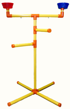 T perch medium parrot - perch diameter 1 1/4 inch  This PVC is FDA approved. Content - No Lead/Phenol/Heavy Metals/Phthalates. This is not Plumbing PVC but human food grade. Fluted pipe for better grip.  Non-glue assembly required.  Size 34x24x48 inch 4inch bowls induced.  Fill lower legs with clean sand to improve stability.