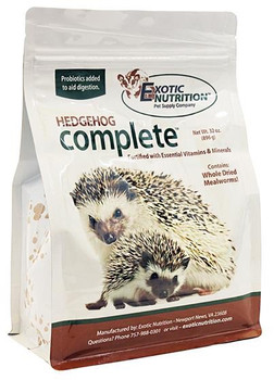Exotic Nutrition's popular Hedgehog Complete is an animal-based protein pellet, fortified with vitamins, and blended with delicious dried mealworms. This diet is scientifically blended to meet the hedgehog's vitamin, mineral, amino acid, fiber, and digestive enzyme needs. Incorporated in this diet are the recommended 'high meat based' proteins (35.01%) along with fresh grains and dried mealworms delivering a vitamin-fortified complete diet that contains all the nutrition necessary for growth, reproduction and development. Included in this formula is chitin, which comes from the exoskeleton of insects, to add a form of natural fiber.