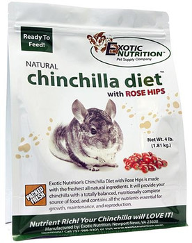 Exotic Nutrition's Chinchilla Diet with Rose Hips is manufactured with the freshest locally harvested ingredients. This diet has been developed and refined as a direct result of close working relationship with Ph. D's in animal nutrition, along with chinchilla breeders with long-term experience and local veterinarians. Through long-term use, chinchilla owners experienced impressively low disease and death rates in their animals, as well as high reproduction rates when feeding this diet to their stock.