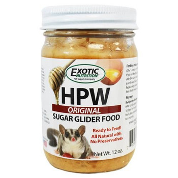 HPW is a vitamin-enriched, sugar glider diet with a soft, pudding-texture. This diet includes all the major ingredients from the original High Protein Wombaroo diet that is trusted and fed to sugar gliders worldwide. Sugar gliders love the vanilla bean flavoring and ingredients including honey, eggs, bee pollen and ZooPro high protein supplement. Amazingly simple, ready-to-serve out of the jar; no more spending mass amounts of money or time feeding the glider. HPW can be served fresh or frozen into individual servings using ice trays.