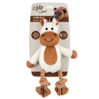 Size: One size Let the dog enjoy the fun of playing with this Cuddle Knotted Rope toy. It is made of soft faux suede, lambsplush and ropes.The fabric provides fantastic tactile impression. Inner squeaker attracts dog's attention and entices it to play, and the knotted rope is good for dental health.   Features: • Durable • Squeaker inside for added fun  • Soft • Dental rope   Size (Cm) : L 31.0 x W 22.5 x H 7.5