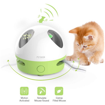 This moving cat toy is equipped with a super realistic mouse filled with catnip which could also make realistic mouse sounds after the plastic cord being removed. It will engage and entertain your cat while satisfying the natural hunting instincts.
