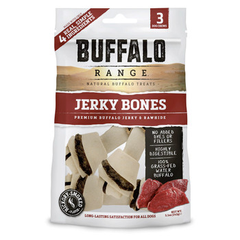 Buffalo Range Natural, Grain Free Jerky Bone Rawhide Bones