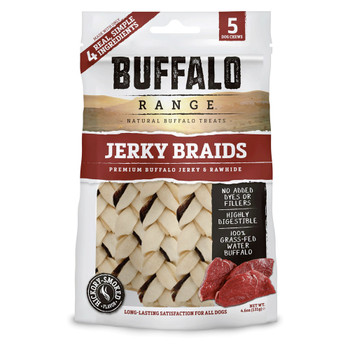 Buffalo Range Natural, Grain Free Jerky Braid Rawhide Chews for Dogs