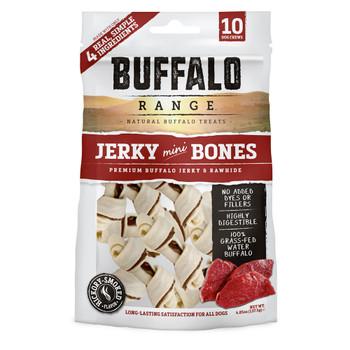 Buffalo Range Natural, Grain Free Jerky Mini Bone Rawhide Chews for Dogs