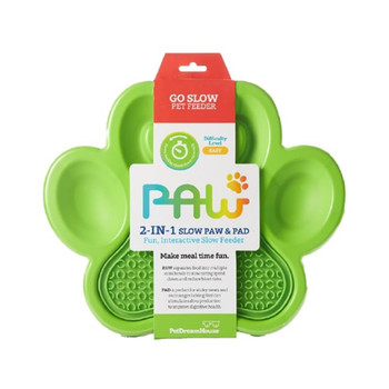 PETDREAMHOUSE PAW 2-IN-1 SLOW FEEDER & LICK PAD GREEN