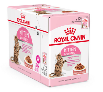 Specially formulated WET formula for neutered kittens from 6 to 12 months old. After neutering, the nutritional needs of kittens change. Kitten STERILISED helps limit the risk of excess weight gain thanks to an adapted content of fat and provides a balanced intake of nutrients (protein, calcium, phosphorus) for a harmonious end of growth. 12x85g